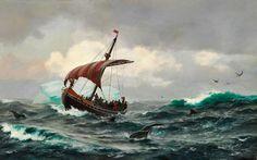 Jens Erik Carl Rasmussen - Summer in the Greenland coast circa year 1000 (1875)