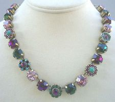 Emerald Green and Amethyst Crystal Antique Necklace
