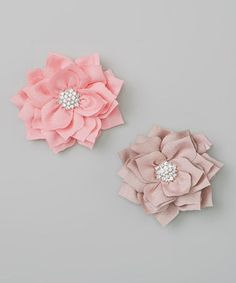 Love this Picki Nicki Hair Bowtique Pink & Beige Rhinestone Flower Clip Set by Picki Nicki Hair Bowtique on #zulily! #zulilyfinds