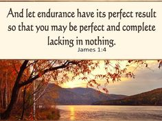 Let endurance have its perfect work, that you may be perfect and complete, lacking in nothing. - Google Search