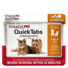 Kill fleas fast with Dog & Cat MD Maximum Defense QuickTabs (nitenpyram) for Dogs and Cats lbs. Kills adult fleas quickly - within 30 minutes! Directions: A single dose of QuickTabs Tablets should kill the adult fleas on your pet. Flea Medicine For Cats, Cat Medicine, Nursing Supplies, Cat Supplies, Flea Shampoo, Tick Control, Flea Treatment, Dog Eyes, Flea And Tick