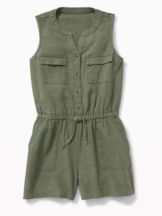 Utility Linen-Blend Romper for Girls #button#placket#neckline Rompers For Teens, Cute Rompers, Girls Rompers, Girls Dresses, Tween Fashion, Girls Fashion Clothes, Little Girl Fashion, Fashion Outfits, Teenage Clothing