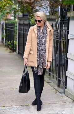 Camel coat and leopard.