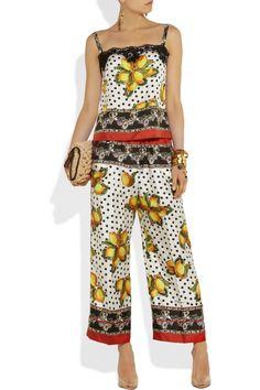 Dolce & Gabbana|Printed silk cropped wide-leg pants|NET-A-PORTER.COM