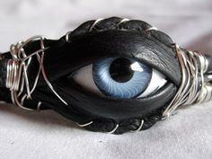 Mystic Eye Black Leather and Silver Wire Wrapped Bracelet | MumgoDesigns - Jewelry on ArtFire (sold)