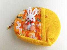 Little bunny yellow purse japanese fabric zipper purse make