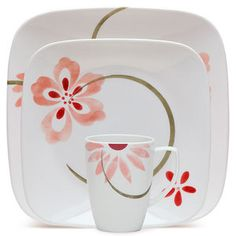 Corelle Squares Pretty Pink 16-Piece Dinnerware Set -- Loving the idea of a pink and red kitchen
