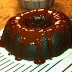 Found this chocolate bunt cake recipe on pinterest and my mom said it was the best cake she has ever had! I love pinterest!