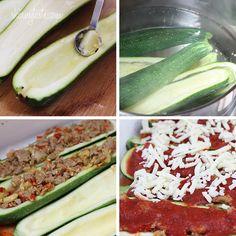 Sausage Stuffed Zucchini Boats | Skinnytaste So tasty! Made it tonight!