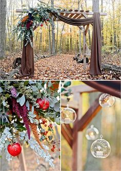 fall inspired wedding arbor