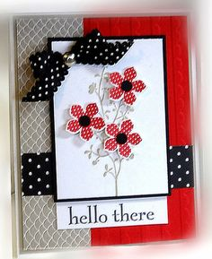 tamps: Petite Flowers, Happy Day, Morning Meadow Paper: Real Red, Basic Black, Smoky Slate, Whisper White, DSP Ink: Smoky Slate, Real Red Accessories: scallop pola dot ribbon, jumbo brad Tools: petite flower punch, Big Shot, scallop EF, dimensionals