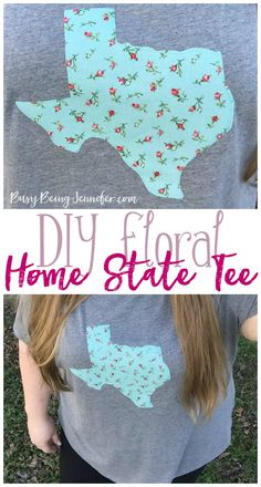 Easy DIY Floral Home State Tee! Whip this up in about 20 minutes!  - Busy Being Jennifer