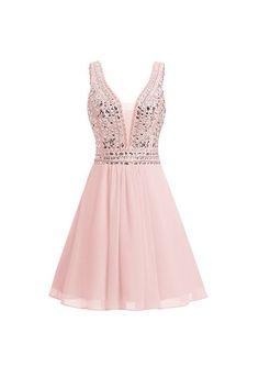 V-neck Beads Chiffon Homecoming Dress Short Prom Dress,5742 by Dress Storm, $158.00 USD