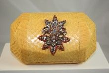 MCL by Matthew Campbell Laurenza Yellow Snakeskin Clutch