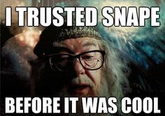 Dumbledore (*Me too! Because if Dumbledore trusted Snape, I KNEW Snape could be trusted. I also knew, in my heart, Snape was just always a good man, he may not have been the kindest or friendliest but I always knew he was GOOD!_LL)