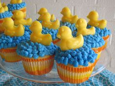 Ducky-themed baby shower. These ducks are not expensive and is a great idea..Could use a variety of toppers.