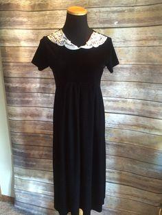 Gothic 1990's Black Velvet and White Lace Babydoll Dress by CobbWebbTreasures on Etsy