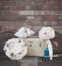 Shabby Chic Vintage Brown Gold Ivory Silver Bouquet Fall Spring Summer Winter Wedding Flowers Photos & Pictures - WeddingWire.com