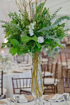 tall greenery wedding centerpieces