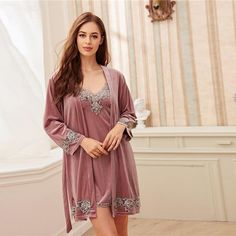 Women's Velvet Four-Piece Sleepwear Set With Lace | ZORKET | Material: Polyester, Spandex • Length: Full Length • Collar: Spaghetti Strap • Type: Solid, Pajamas • Material: Polyester • Obscene Picture: No