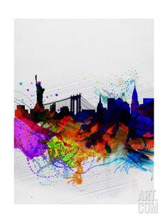 New York Watercolor Skyline 1 Art Print by NaxArt at Art.com