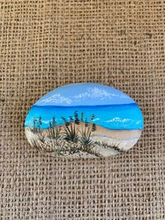 """Painted Rock, Sand Dune Beach Scene, Ocean Waves, Hand Painted Beach Rock - """" You are in the right place about trends topics Here we offer you the most beautiful pictures a - Rock Painting Patterns, Rock Painting Ideas Easy, Rock Painting Designs, Pebble Painting, Pebble Art, Stone Painting, Shell Painting, Ceramic Painting, Body Painting"""