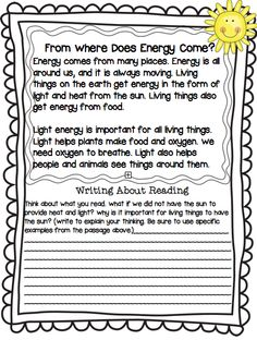 Forms of Energy Unit! Writing about your reading. Tweak it for fourth grade