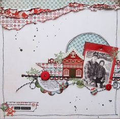 Winter scrapbook layout made with Nordic holiday collection from Basic Grey. Layout by Erin Blegen Scrapbooking Vintage, Scrapbooking Digital, Scrapbooking Photo, Scrapbook Sketches, Scrapbook Page Layouts, Scrapbook Supplies, Scrapbook Cards, Scrapbook Organization, Photo Layouts