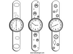 disegno-orologi Infant Activities, Preschool Activities, Art For Kids, Crafts For Kids, Paper Bracelet, Puppet Patterns, Teachers Corner, Teaching Time, Diy Clock