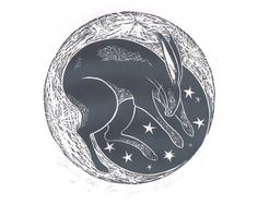Original Lino Print of Moon Hare Nursery by BridgetFarmerArtist, $50.00
