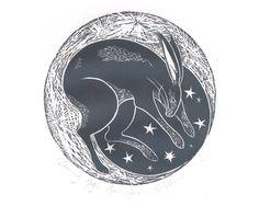 Original Lino Print of Moon Hare Nursery by BridgetFarmerArtist, $50.00