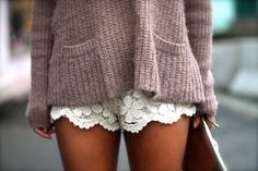 Crochet lace white shorts, dusty rose knit sweater with front pockets