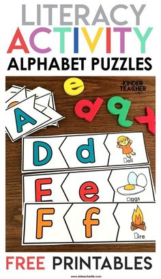 Decomposing Math Center Activities – A Kinderteacher Life Alphabet Puzzles Freebie – students match the uppercase, lowercase letter and beginning sound. Perfect for beginning of the year literacy centers and letter recognition practice. Kindergarten Lesson Plans, Kindergarten Centers, Teaching Kindergarten, Math Centers, Beginning Sounds Kindergarten, Reading Centers, Letters Kindergarten, Teaching Resources, Kindergarten Smorgasboard