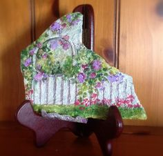 Cute Flowery arbor painted rock by Artbyjpennington on Etsy