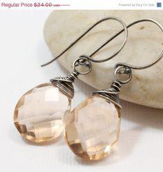 Summer SALE Apricot Quartz Earrings Sterling by PearlsPlusLLC, $21.60