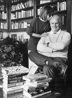 Writers Joan Didion and John Gregory Dunne - surrounded by books