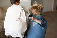 "Use some pillows and a pair of dad-size T-shirts to ""sumo wrestle."" 
