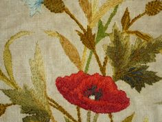 Vintage English embroidery poppies flora wool silk by abfabs10, £34.99