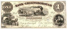 Obsolete bank note, 1858, Bank of Greensborough, Greensborough, Georgia