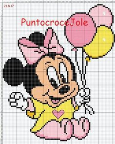 Baby Minnie Mouse with balloons Cross Stitch Baby, Cross Stitch Kits, Cross Stitch Designs, Cros Baby Cross Stitch Kits, Disney Cross Stitch Patterns, Cross Stitch Charts, Cross Stitch Designs, Cross Stitching, Cross Stitch Embroidery, Pixel Crochet Blanket, C2c Crochet, Crochet Cross