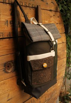 Beige and olive green roll top backpack using cork fabric for the front pocket and a beer cap as a decorative button, by 'eating the goober' Top Backpacks, Beer Caps, Cork Fabric, Bradley Mountain, Olive Green, Beige, Pocket, Trending Outfits, Button
