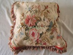 """flower floral rose  pillow case seat sofa chair antique vintage wool  handmade 45CMX45CM 18""""x 18""""aubusson red cushion cover"""