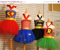 ON SALE TODAY Super Hero Inspired Tutu Dress Costume for Halloween, Birthday Parties, or Dress Up Batman, Robin, Wonder woman, and Superman