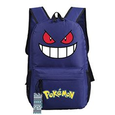 "Anime Pokemon Gengar School Backpack 18"" Black Blue Green...…"