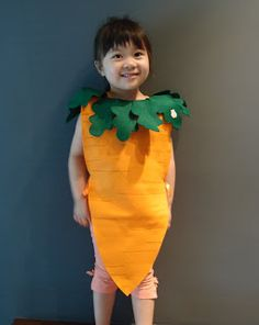Carrot Costume. Fits 4-5 years (new)   Handmade with felt, includes a rabbit motif on a leaf.   Orange ribbon ties on the side...