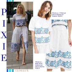 Pixie Lott trägt ein super cooles Kombi-Outfit bestehend aus Rock und Top in coolem Bohemian-Chic!