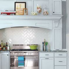 kitchen backsplash herringbone over stove Kitchen Redo, Kitchen Backsplash, New Kitchen, Kitchen Remodel, Kitchen Dining, Backsplash Ideas, Kitchen Cabinets, Splashback Tiles, Backsplash Design