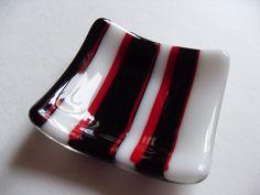 Black, Red and white striped fused glass mini dish. $15.00, via Etsy.