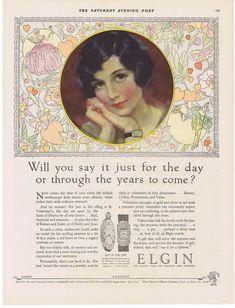 1927 ELGIN WATCH J. Knowles Hare lady art Valentine's theme print ad | eBay