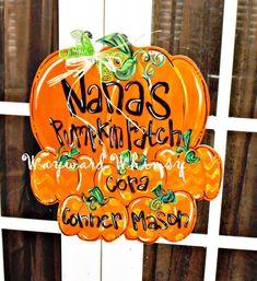 Pumpkin Patch Wood Cut Out Door Hanger by TheWaywardWhimsy